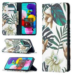 Flower Leaf Slim Magnetic Attraction Wallet Flip Cover for Samsung Galaxy A51 4G