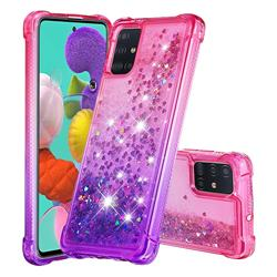 Rainbow Gradient Liquid Glitter Quicksand Sequins Phone Case for Samsung Galaxy A51 4G - Pink Purple