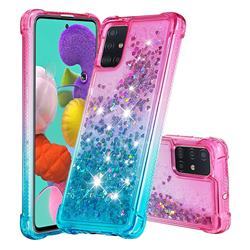 Rainbow Gradient Liquid Glitter Quicksand Sequins Phone Case for Samsung Galaxy A51 4G - Pink Blue