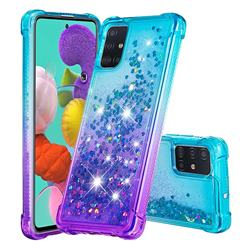 Rainbow Gradient Liquid Glitter Quicksand Sequins Phone Case for Samsung Galaxy A51 4G - Blue Purple