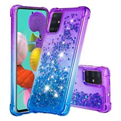 Rainbow Gradient Liquid Glitter Quicksand Sequins Phone Case for Samsung Galaxy A51 4G - Purple Blue