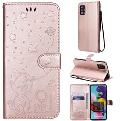 Embossing Bee and Cat Leather Wallet Case for Samsung Galaxy A51 4G - Rose Gold