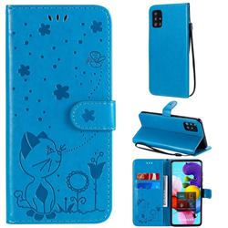 Embossing Bee and Cat Leather Wallet Case for Samsung Galaxy A51 4G - Blue