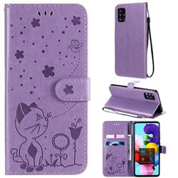 Embossing Bee and Cat Leather Wallet Case for Samsung Galaxy A51 4G - Purple