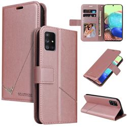 GQ.UTROBE Right Angle Silver Pendant Leather Wallet Phone Case for Samsung Galaxy A51 4G - Rose Gold