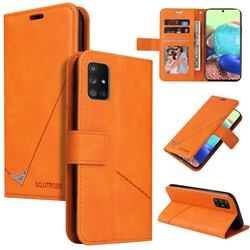 GQ.UTROBE Right Angle Silver Pendant Leather Wallet Phone Case for Samsung Galaxy A51 4G - Orange