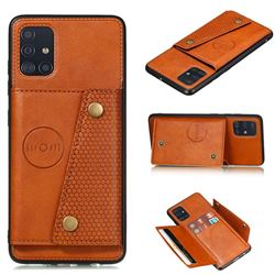Retro Multifunction Card Slots Stand Leather Coated Phone Back Cover for Samsung Galaxy A51 4G - Brown