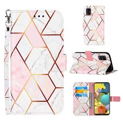 Pink White Stitching Color Marble Leather Wallet Case for Samsung Galaxy A51 4G