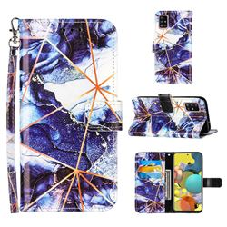 Starry Blue Stitching Color Marble Leather Wallet Case for Samsung Galaxy A51 4G