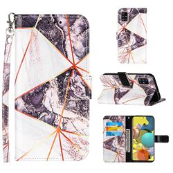 Black and White Stitching Color Marble Leather Wallet Case for Samsung Galaxy A51 4G