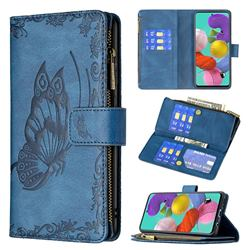 Binfen Color Imprint Vivid Butterfly Buckle Zipper Multi-function Leather Phone Wallet for Samsung Galaxy A51 4G - Blue