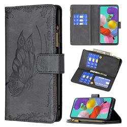 Binfen Color Imprint Vivid Butterfly Buckle Zipper Multi-function Leather Phone Wallet for Samsung Galaxy A51 4G - Black