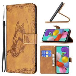 Binfen Color Imprint Vivid Butterfly Leather Wallet Case for Samsung Galaxy A51 4G - Brown