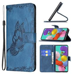 Binfen Color Imprint Vivid Butterfly Leather Wallet Case for Samsung Galaxy A51 4G - Blue