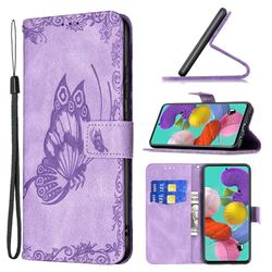 Binfen Color Imprint Vivid Butterfly Leather Wallet Case for Samsung Galaxy A51 4G - Purple