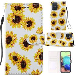 Sunflower Smooth Leather Phone Wallet Case for Samsung Galaxy A51 4G
