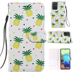 Pineapple Smooth Leather Phone Wallet Case for Samsung Galaxy A51 4G