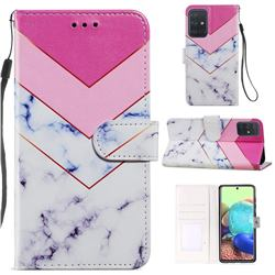 Smoke Marble Smooth Leather Phone Wallet Case for Samsung Galaxy A51 4G