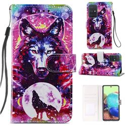 Wolf Totem Smooth Leather Phone Wallet Case for Samsung Galaxy A51 4G