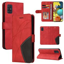 Luxury Two-color Stitching Leather Wallet Case Cover for Samsung Galaxy A51 4G - Red