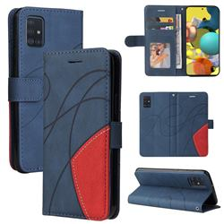 Luxury Two-color Stitching Leather Wallet Case Cover for Samsung Galaxy A51 4G - Blue