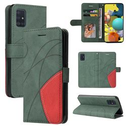 Luxury Two-color Stitching Leather Wallet Case Cover for Samsung Galaxy A51 4G - Green