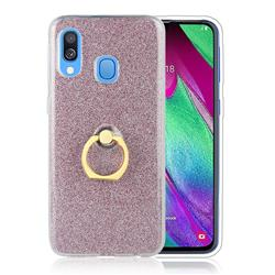 Luxury Soft TPU Glitter Back Ring Cover with 360 Rotate Finger Holder Buckle for Samsung Galaxy A60 - Pink