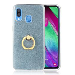 Luxury Soft TPU Glitter Back Ring Cover with 360 Rotate Finger Holder Buckle for Samsung Galaxy A60 - Blue