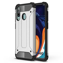 King Kong Armor Premium Shockproof Dual Layer Rugged Hard Cover for Samsung Galaxy A60 - White