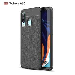 Luxury Auto Focus Litchi Texture Silicone TPU Back Cover for Samsung Galaxy A60 - Black