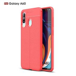 Luxury Auto Focus Litchi Texture Silicone TPU Back Cover for Samsung Galaxy A60 - Red