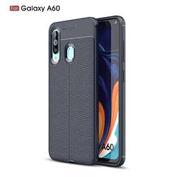 Luxury Auto Focus Litchi Texture Silicone TPU Back Cover for Samsung Galaxy A60 - Dark Blue