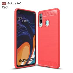 Luxury Carbon Fiber Brushed Wire Drawing Silicone TPU Back Cover for Samsung Galaxy A60 - Red