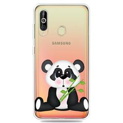 Bamboo Panda Clear Varnish Soft Phone Back Cover for Samsung Galaxy A60