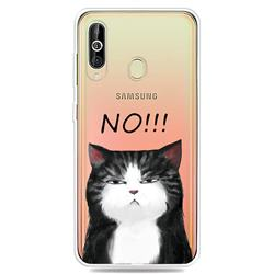 Cat Say No Clear Varnish Soft Phone Back Cover for Samsung Galaxy A60