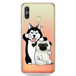 Selfie Dog Clear Varnish Soft Phone Back Cover for Samsung Galaxy A60