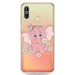 Tiny Pink Elephant Clear Varnish Soft Phone Back Cover for Samsung Galaxy A60