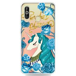 Blue Flower Unicorn Clear Varnish Soft Phone Back Cover for Samsung Galaxy A60