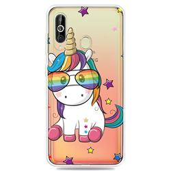 Glasses Unicorn Clear Varnish Soft Phone Back Cover for Samsung Galaxy A60