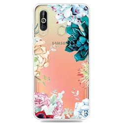 Gem Flower Clear Varnish Soft Phone Back Cover for Samsung Galaxy A60