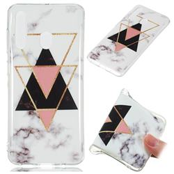 Inverted Triangle Black Soft TPU Marble Pattern Phone Case for Samsung Galaxy A60