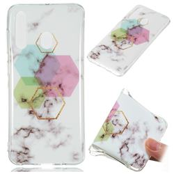 Hexagonal Soft TPU Marble Pattern Phone Case for Samsung Galaxy A60