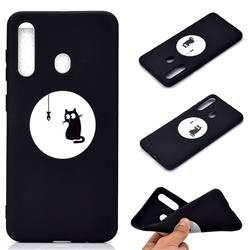 Fish Fishing Cat Chalk Drawing Matte Black TPU Phone Cover for Samsung Galaxy A60