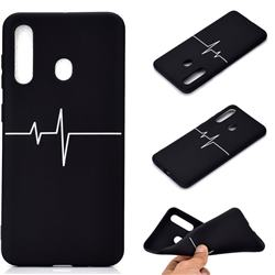 Electrocardiogram Chalk Drawing Matte Black TPU Phone Cover for Samsung Galaxy A60