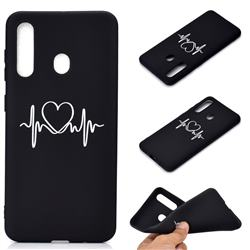 Heart Radio Wave Chalk Drawing Matte Black TPU Phone Cover for Samsung Galaxy A60