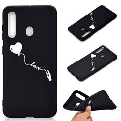 Heart Balloon Chalk Drawing Matte Black TPU Phone Cover for Samsung Galaxy A60