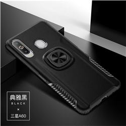 Knight Armor Anti Drop PC + Silicone Invisible Ring Holder Phone Cover for Samsung Galaxy A60 - Black