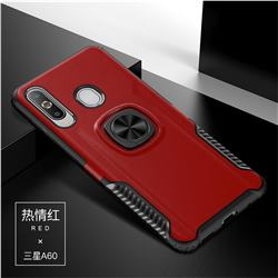 Knight Armor Anti Drop PC + Silicone Invisible Ring Holder Phone Cover for Samsung Galaxy A60 - Red