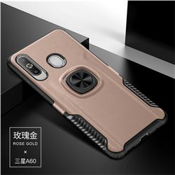 Knight Armor Anti Drop PC + Silicone Invisible Ring Holder Phone Cover for Samsung Galaxy A60 - Rose Gold