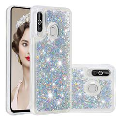 Dynamic Liquid Glitter Quicksand Sequins TPU Phone Case for Samsung Galaxy A60 - Silver